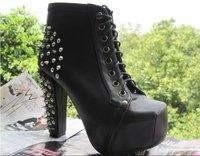 Туфли на высоком каблуке Hot sale! 2012 fashion new drop shipping Spring&Autumn ladies revet boots, woman wedge high heels shoes sapogi