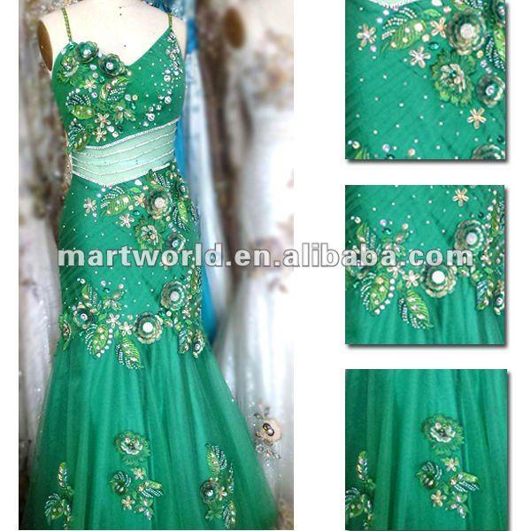 Verde elegante bordado vestido bordado tela ( MWHS-002 )-Encaje ...