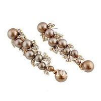 Серьги висячие brown gold pearl earrings WEDDING Jewelry BA-120 with Swarovksi elements crystal earrings high-end Neoglory Rihood Jewelry