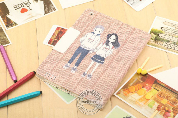 Cute Lovely Boy/Girl Cartoon Case for ipad 2 for New ipad 3 Smart Cover Leather Cases