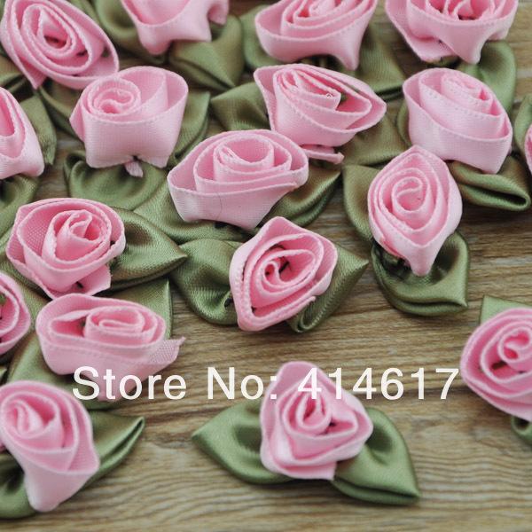 480pcs Mixed Satin Ribbon Rose Buds Flowers DIY Wedding Craft Applique 1.5cm