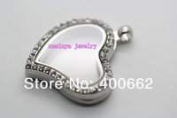 Колье-цепь 6pcs magnetic clear czech crystal curved heart floating charm glass locket xmas gift, w/2.4mm 24' s.steel ball chain