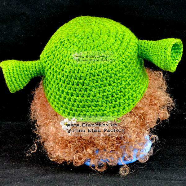Tejido a mano animales shrek carácter patrón del sombrero del ...