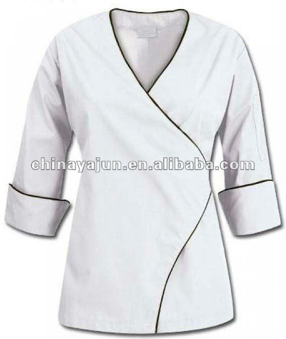 ... cirugía color escudo chef chaf uniforme de chaqueta para las señoras