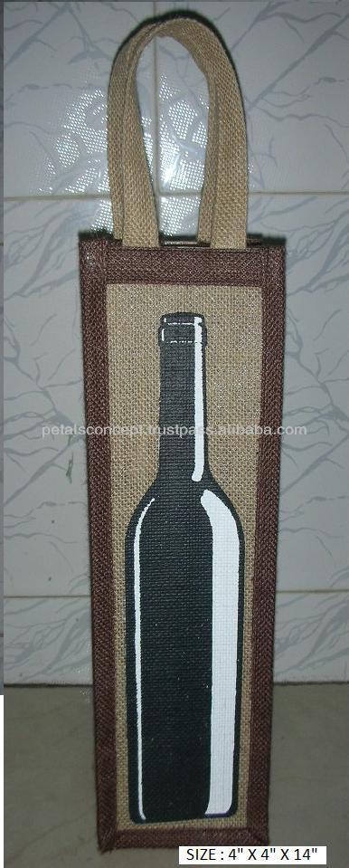 One bottle jute wine tote bag