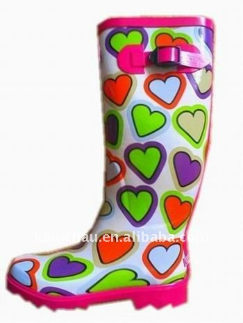 2012 fashionable printed cheap rubber rain boots