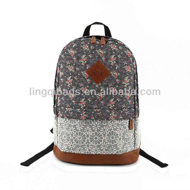fashion pink floral print canvas lace trim backpacks for school buy floral backpacks flower. Black Bedroom Furniture Sets. Home Design Ideas