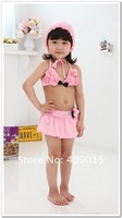 flowers 3pieces set children swimsuit,cute pink girls swimwear,free shipping