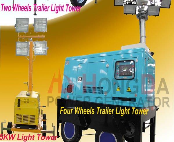 Multi-fuction Trailer Welding lighting Tower Diesel Power Generator Price