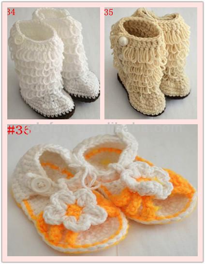 Bonito sapatinho de bebê feito à mão sapatos de crochê bebê sapatos baixos