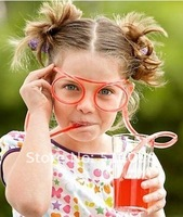 Соломинка для питья 2pcs/lot Silly Straw Glasses Novelty Drinking Straw Eyeglass Frames Piped