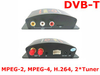 Специализированный магазин New dual tuner car mobile HD dvbt receiver digital TV Car TV Tuner compatible mpeg4+mpeg2 composite CVBS with 2 video output