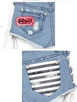 Free Shipping Wholesale/Retail New Arrival, 2012 summer shorts, Fashion Ribbons Batchwork Short Jeans Pants, hotpants AD9285SK