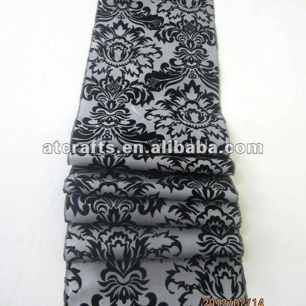 fancy decoration,  wedding, table table black black for runner   damask cheap runners table white