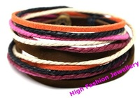 C0315 fashion jewelry handmade bracelet,free shipping genuine leather charm jewellery,hot selling multicolor wristband 12pcs/lot