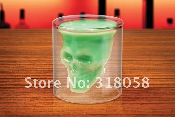 EMS DHL  Freeshipping DOOMED Pirate Skull Shot Glass,crystal-clear,hand-blown, borosilicate,2.5 ounces, about 74 ml