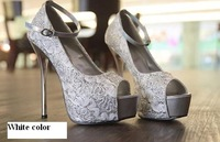 Туфли на высоком каблуке 2012 Vogue shoes, woman sexy lace thin high heels, platform pumps, lady's peeptoe shoes, heorshe, sandals, $15 off per $150 order
