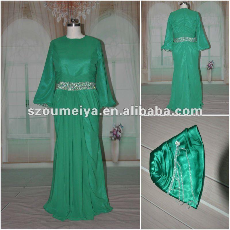 С длинным рукавом вечернее платье с