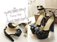 Женские сандалии 2012 slender beautiful bowknot hasp thick heel thick bottom high heel sandal
