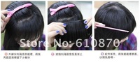 NEW Fashion Women hair band bangs fringes sides long #1b natural black 100% real human hair clip-in EXTENSIONS wholesale