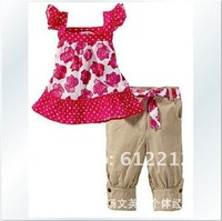 Wholesale Girls' suits piece suit (the rose vest + pants) installed FREE SHIPPING