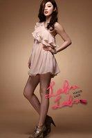 2012 ladies' fashion one shoulder evening dress women's ruffled mini sexy pleated chiffon dresses free shipping
