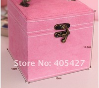 FG91 2013 new europe princess faux suede casket jewelry packaging storage box hotsale freeshipping
