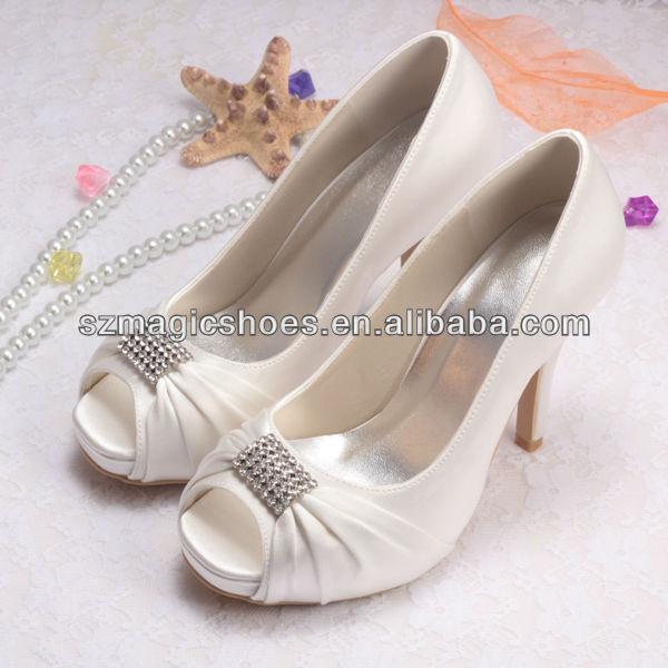 Wedopus High Heels Peep Toe Wedding Shoes Bridal Satin Blue Small Platform Dropship