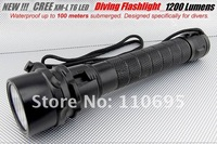 1200 Lumens Cree T6 100 Meter Waterproof Diver Diving LED Flashlight    Free Shipping
