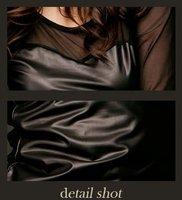 Женское платье Sale 2012 new lady's black buttocks tight dress sexy net yarn splicing Tee Slim lace long sleeve base shirt SWS107