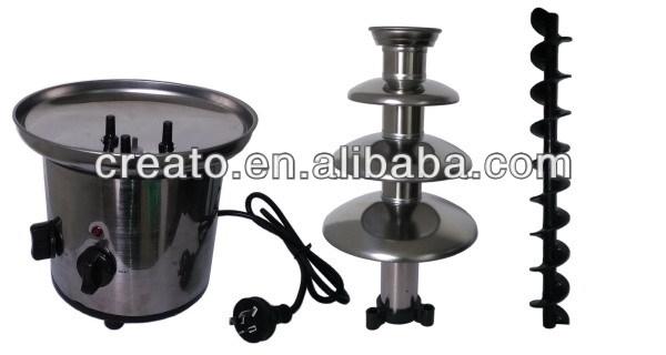 Nivel 4 capa 170 w de acero inoxidable fondue de chocolate fuente con ce
