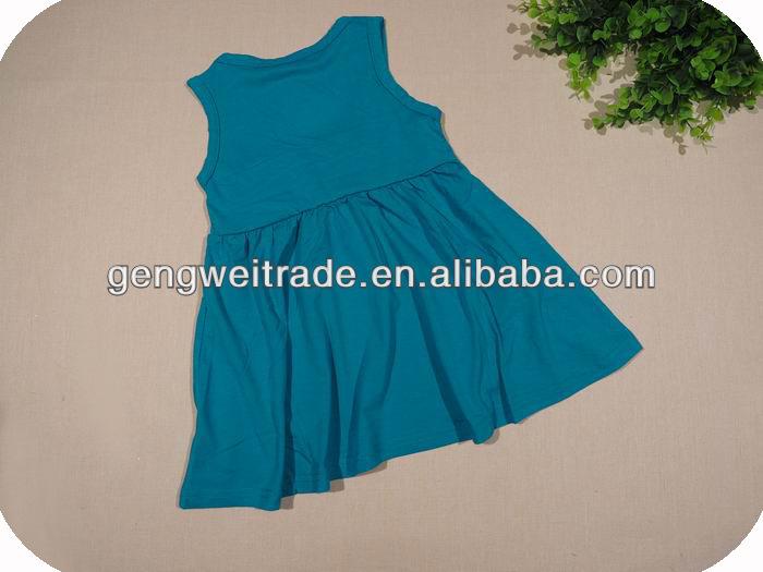 New arrival girl cotton dress,cat design 2014 summer