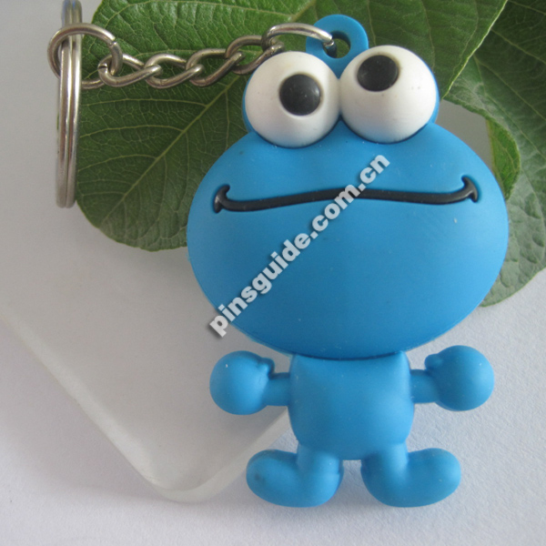 Advertising 3D PVC Big Eyes Single-side Blue Cute Frog Keychains For Children Day Gift