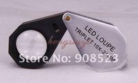 10X Jewelry Diamond Gem Triplet Loupe Magnifier + Six LED lights 21mm lens + Leather Case, Achromatic Aplanatic