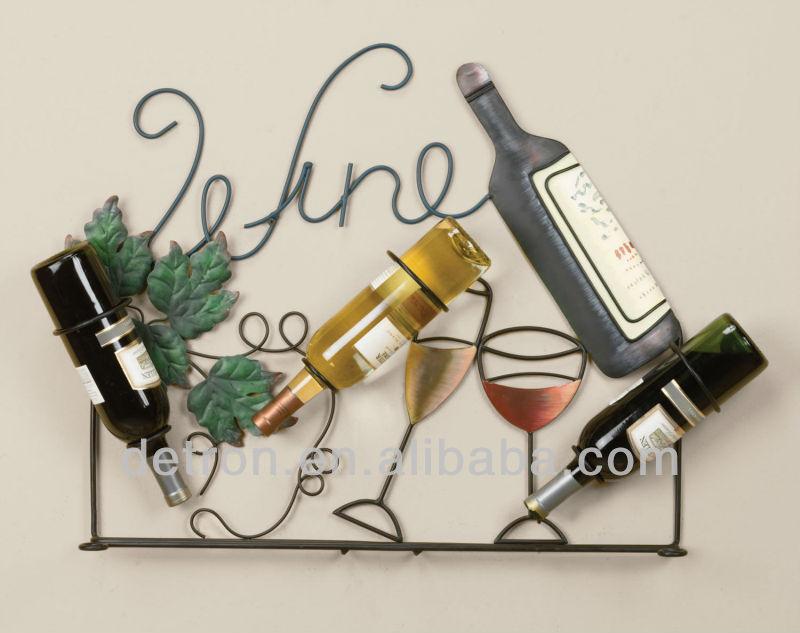 Fer forg verre de vin haging rack d coratif vin porte for Porte bouteille decoratif