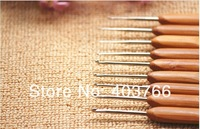 Freeshipping 0.5mm/2.75mm 10PCS/lot bamboo handle stainless steel crochet with pack bag