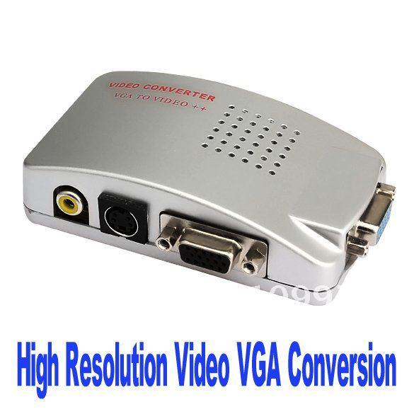 Vga (15-контактный hd video к тв av, s-video vga box преобразования конвертер адаптер pc, mac