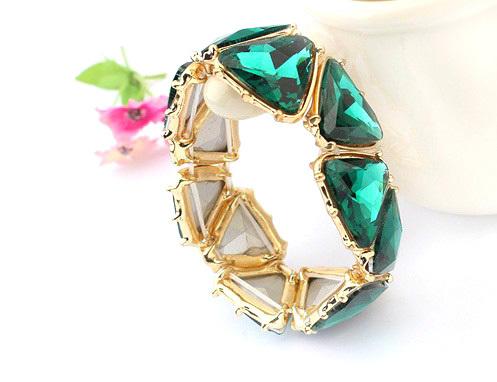 Браслет из бусин European Women Triangle Resin Beads Bracelet Fashion Jewelry Gold Plated Metal Easy Match Best Gift BD219
