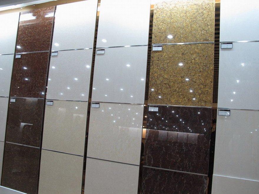 Shiny White White Grey Shiny Floor Tile