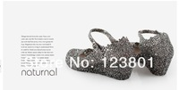 Женские сандалии 2013 summer breathable shoes crystal plastic jelly shoes heels cutout bird nest mesh bird nest female sandals