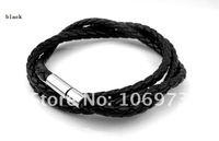 Ювелирное изделие titanium black leather string hand rope bracelet for man