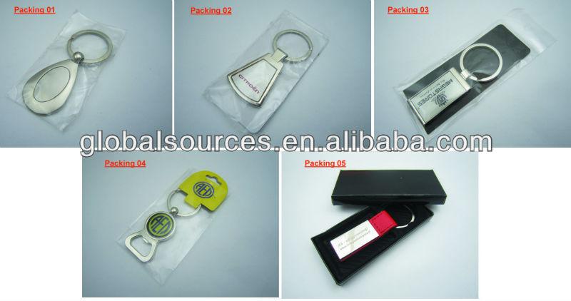 Custom zinc alloy key chain with hot stamp logo