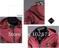 2012 new Jacket Men's hooded Cover wind Slim Short Jacket Stand-up collar outerwear