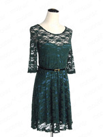 Женское платье Sexy Spoon Neck 3/4 Sleeve Lace Sakter Dress with Lining Belt Include 4 Colors Available E1281