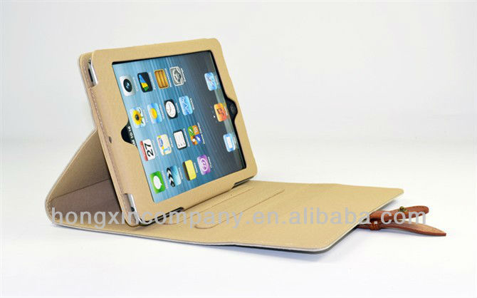 Business PU Leather Case for iPad 4 3 2 Stand case for iPad Mini New Smart cover with buckle fashion design