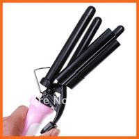 Бигуди Pink Hair Curling Iron Three Barrel 110-220V, Dropshipping