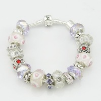 EVPDLSL (35) TOP quantity  jewelry crystal chamilia beads charm bracelet for woman silver beads bracelet.free shipping