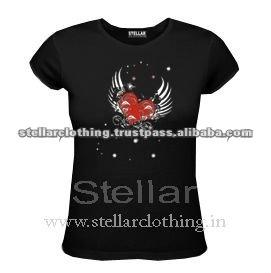 100% cotton Printed Ladies T-shirt -Heart - Black