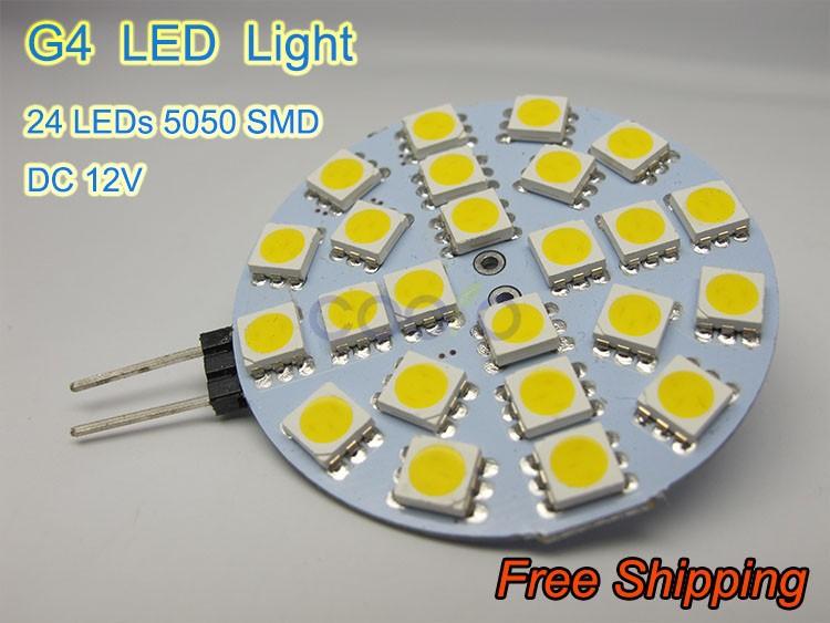 Светодиодная лампа COOLO G4 DC 12V SMD 5050 24LEDs /Cool 10pcs/lot