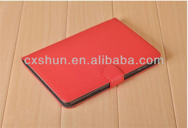 OEM 2014 Folio Litchi Grain Design With Buckle Smart Leather Cases Dormancy Holsters for tablet for ipad mini